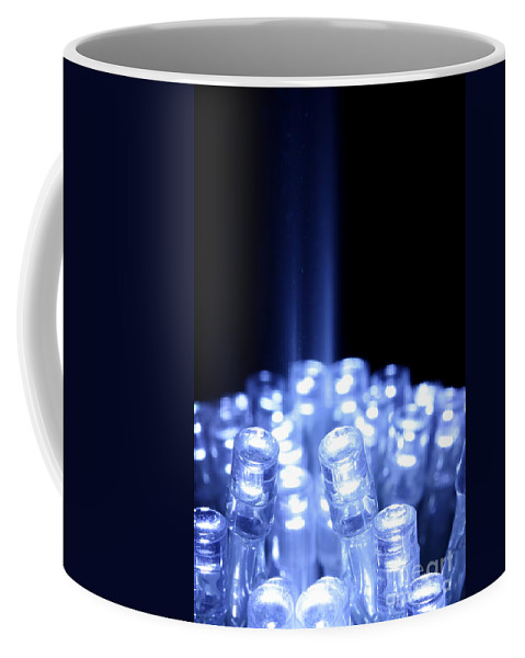 Abstract Coffee Mug featuring the photograph Blue Led Lights With Light Beam by Simon Bratt Photography LRPS