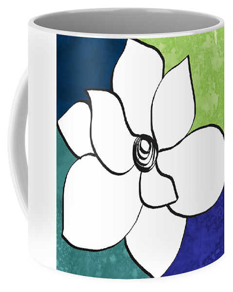 Magnolia Coffee Mug featuring the painting Blue Magnolia 2- Floral Art by Linda Woods