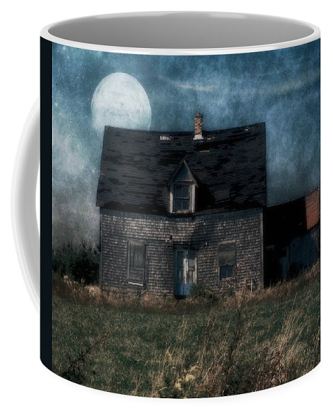 Farmhouse Coffee Mug featuring the painting Blue Moon Rising by RC deWinter