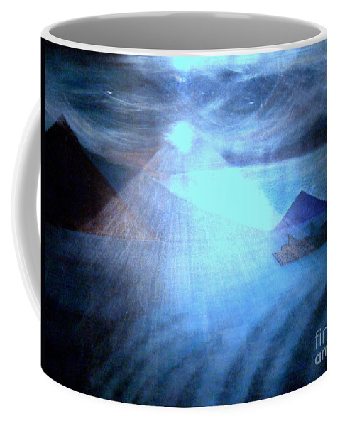 Moon Coffee Mug featuring the painting Blue Moon Sailing by Kumiko Mayer