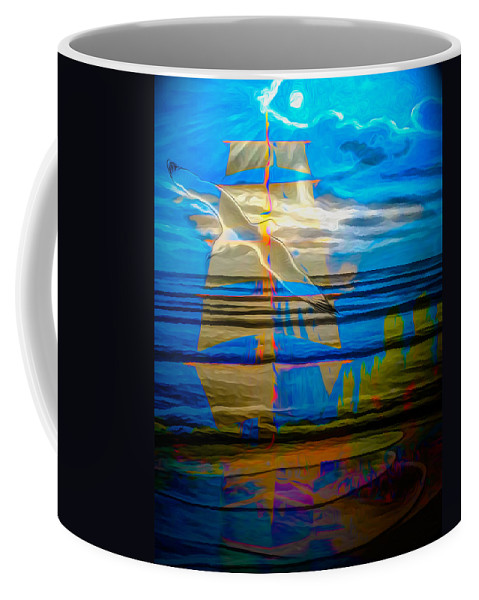 Nature Coffee Mug featuring the digital art Blue Moonlight With Seagull And Sails by Algirdas Lukas