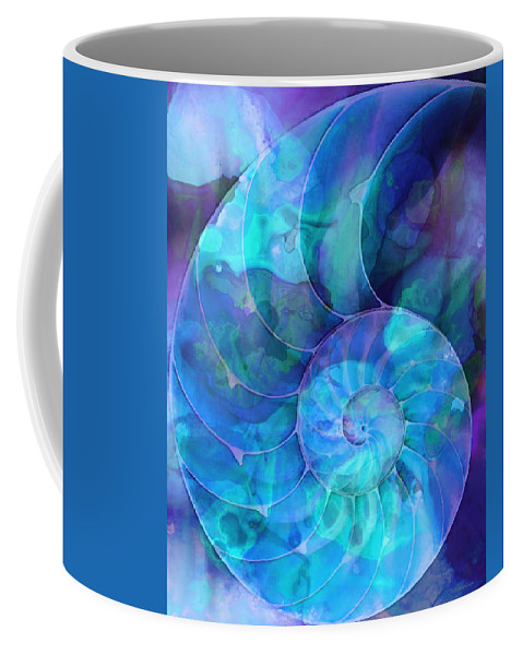 Blue Coffee Mug featuring the painting Blue Nautilus Shell By Sharon Cummings by Sharon Cummings