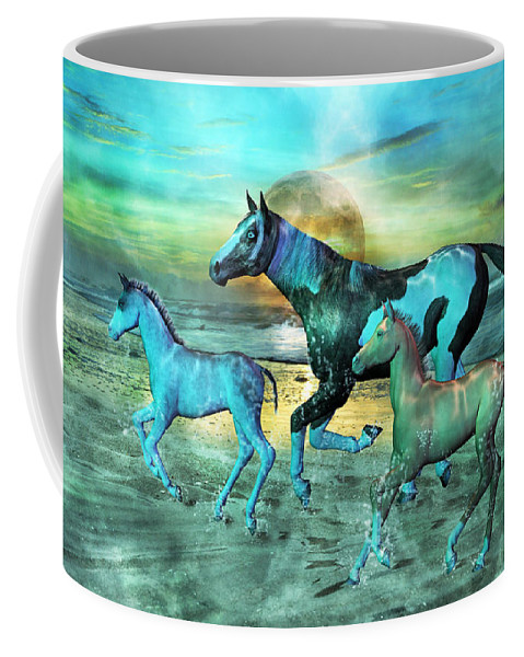 Horse Coffee Mug featuring the mixed media Blue Ocean Horses by Betsy Knapp