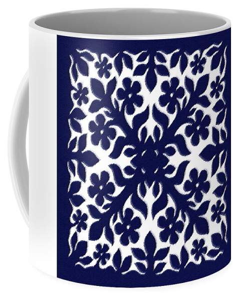 Hawaii Iphone Cases Coffee Mug featuring the digital art Blue Plumeria Quilt by James Temple