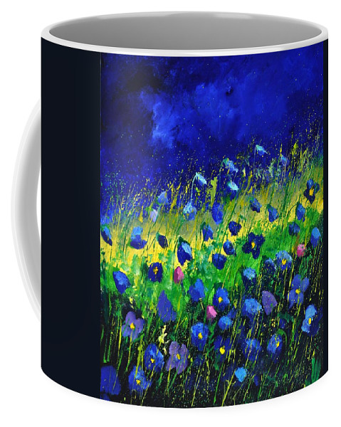 Landscape Coffee Mug featuring the painting Blue poppies 674190 by Pol Ledent