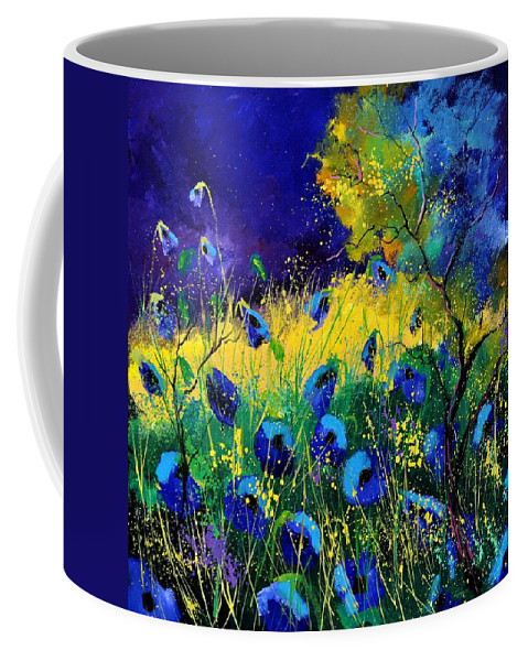 Landscape Coffee Mug featuring the painting Blue poppies 7741 by Pol Ledent