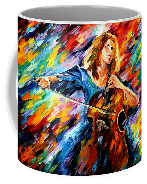 Oil Paintings Coffee Mug featuring the painting Blue Rhapsody - Palette Knife Oil Painting On Canvas By Leonid Afremov by Leonid Afremov