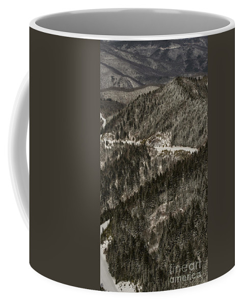 North Carolina Coffee Mug featuring the photograph Blue Ridge Parkway With Snow - Aerial Photo by David Oppenheimer