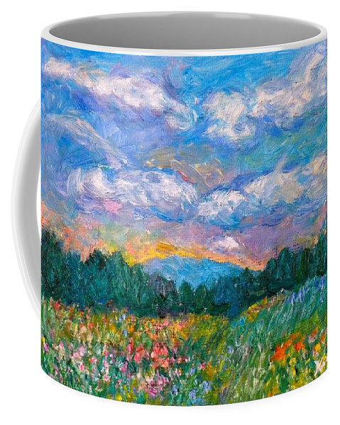 Landscape Coffee Mug featuring the painting Blue Ridge Wildflowers by Kendall Kessler