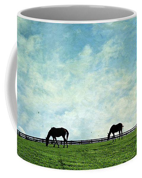 Farm Coffee Mug featuring the photograph Blue Skies And Blue Grass by Darren Fisher