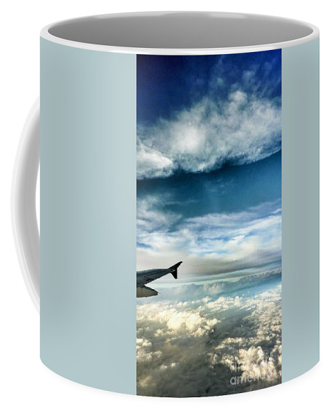 Airplane Wing Coffee Mug featuring the photograph Blue Sky Wing by Susan Garren