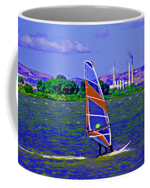 Sacramento River Delta Coffee Mug featuring the digital art Blue Skys Clouds And Waves by Joseph Coulombe