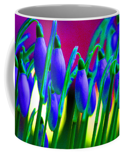 Blue Coffee Mug featuring the digital art Blue Snowdrops by Carol Lynch