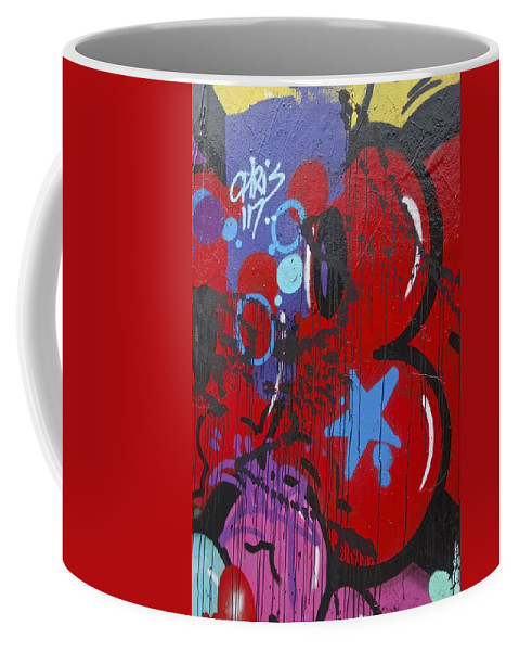 Graphic Graffiti Coffee Mug featuring the painting Blue Star Graffiti Nyc 2014 by Joan Reese