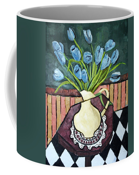 Blue Tulips On Octagon Table Framed Prints Coffee Mug featuring the painting Blue Tulips On Octagon Table by Anthony Falbo