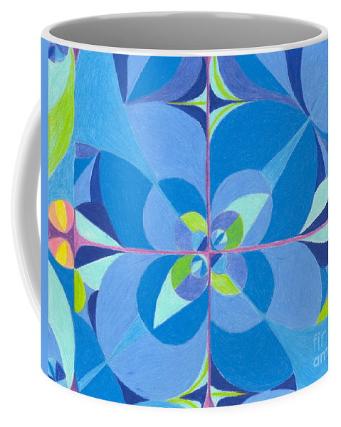 Color Coffee Mug featuring the drawing Blue Unity by Kim Sy Ok