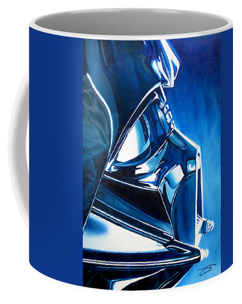 Star Wars Coffee Mug featuring the painting Blue Vader by Joshua Morton