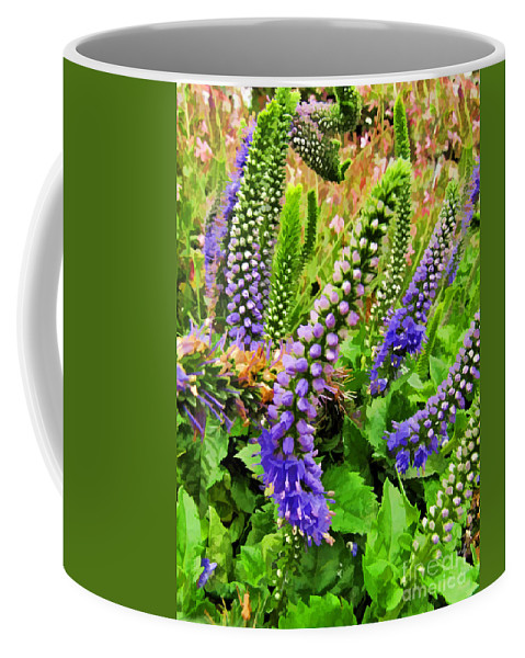 Nature Coffee Mug featuring the photograph Blue Veronica Flowers  Digital Paint by Debbie Portwood