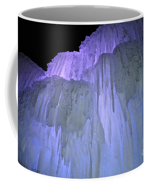 Ice Coffee Mug featuring the photograph Blue Violet Ice Mountain by Susan Herber