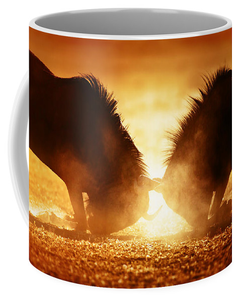 Wildebeest Coffee Mug featuring the photograph Blue Wildebeest Dual In Dust by Johan Swanepoel