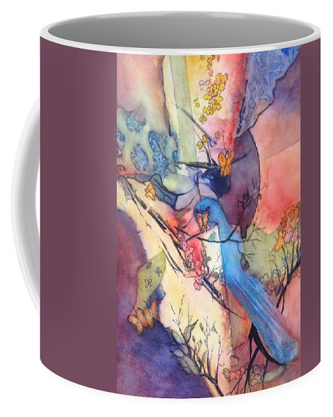 Blue Coffee Mug featuring the painting Bluebird And Butterflies by Eldora Schober Larson