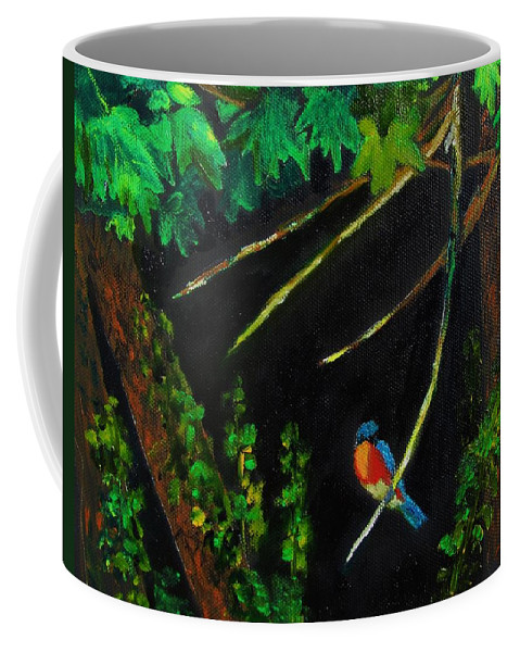 Bluebird Coffee Mug featuring the painting Bluebird Shimmer by Jeannie Allerton