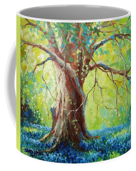 Bluebonnets Coffee Mug featuring the painting Bluebonnets Under The Oak by David G Paul