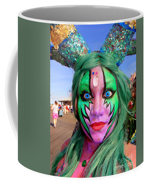 Coney Island Mermaid Parade Coffee Mug featuring the photograph Boardwalk Beauty by Ed Weidman