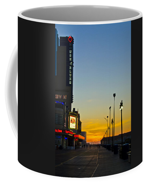 Boardwalk Coffee Mug featuring the photograph Boardwalk House Of Blues At Sunrise by Bill Cannon