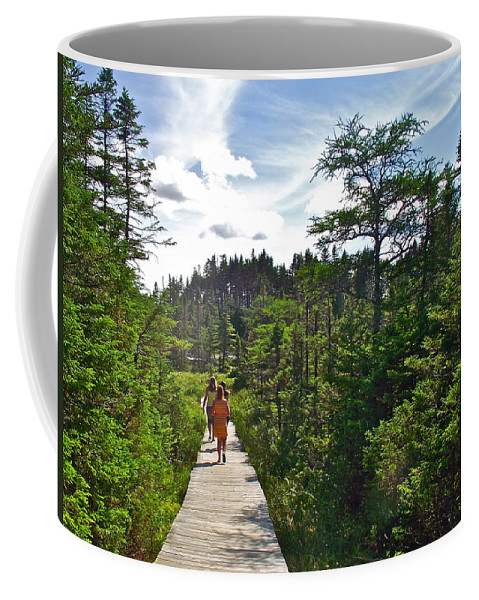 Boardwalk In Salmonier Nature Park Coffee Mug featuring the photograph Boardwalk In Salmonier Nature Park-nl by Ruth Hager