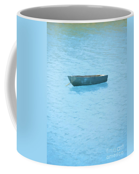 Boat Coffee Mug featuring the painting Boat On Blue Lake by Pixel Chimp