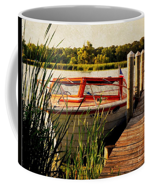 Boat Coffee Mug featuring the photograph Boat On Lake by Beth Ferris Sale