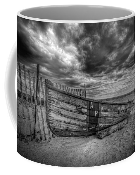 Michael Coffee Mug featuring the photograph Boat Wreckage Bw by Michael Ver Sprill
