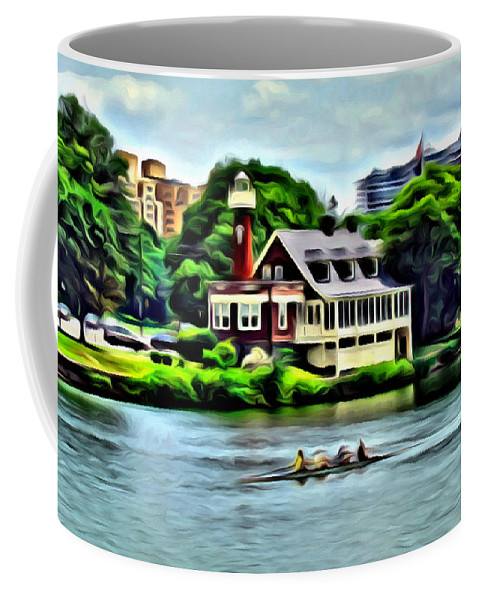 Boathouse Row Coffee Mug featuring the photograph Boathouse Rowers On The Row by Alice Gipson