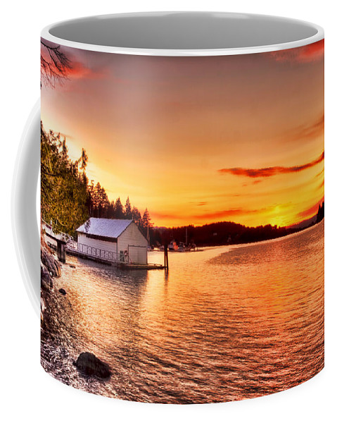 Boathouse Coffee Mug featuring the photograph Boathouse Sunset On The Sunshine Coast by Peggy Collins