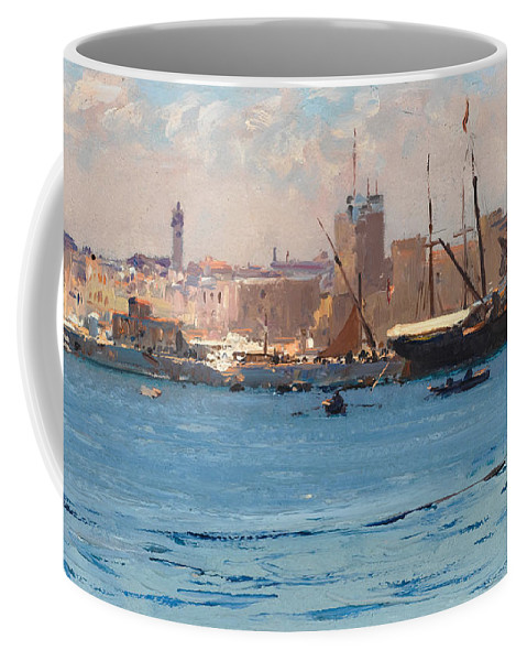 Fausto Zonaro Coffee Mug featuring the painting Boats In A Port by Fausto Zonaro
