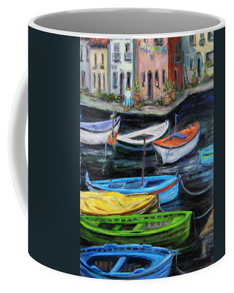 Village Coffee Mug featuring the painting Boats In Front Of The Buildings II by Xueling Zou