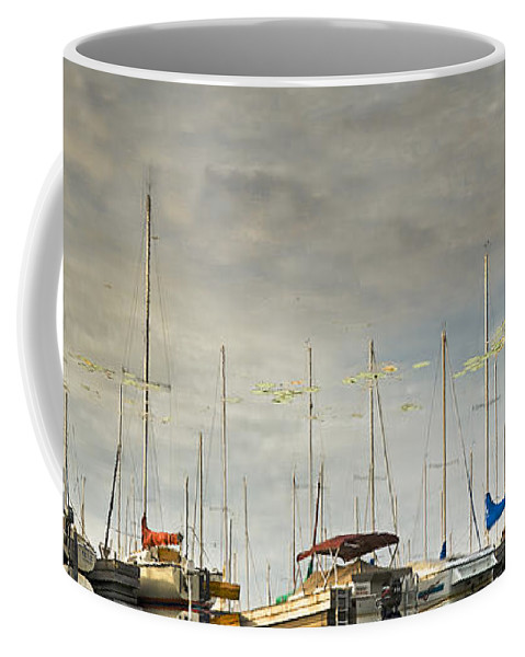 Boats Coffee Mug featuring the photograph Boats In Harbor Reflection by Peter v Quenter