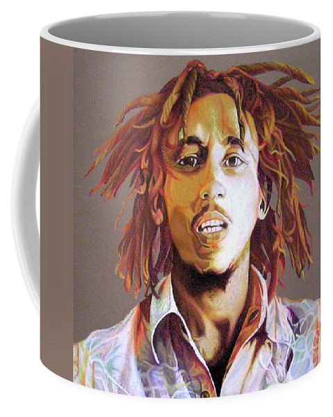 Bob Marley Coffee Mug featuring the drawing Bob Marley Earth Tones by Joshua Morton