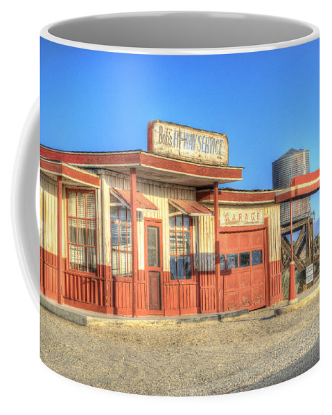 Antelope Valley Coffee Mug featuring the photograph Bob's Service Garage by Juli Scalzi