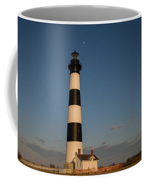 Light House Coffee Mug featuring the photograph Bodie Island Lighthouse Moon by Stacy Abbott