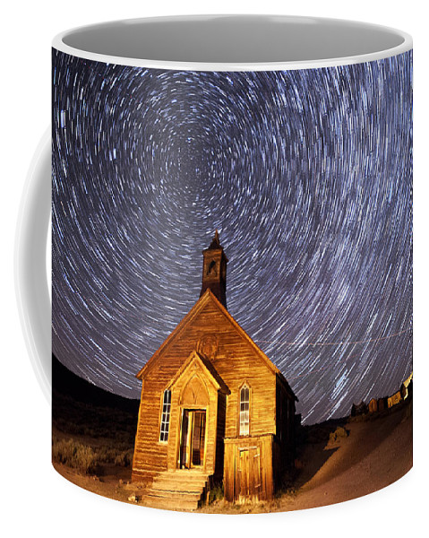 Night Coffee Mug featuring the photograph Bodie Star Trails by Cat Connor