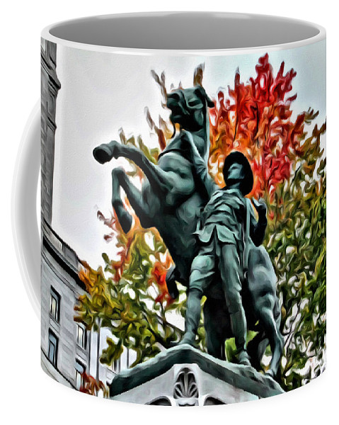 Montreal War Horse Boer Memorial Statue Scenic Alicegipsonphotographs Coffee Mug featuring the photograph Boer War Horse by Alice Gipson