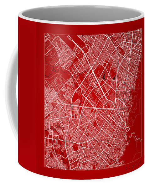 Road Map Coffee Mug featuring the digital art Bogota Street Map - Bogota Colombia Road Map Art On Color by Jurq Studio