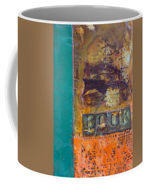 Book Encaustic Coffee Mug featuring the painting Book Cover Encaustic by Bellesouth Studio