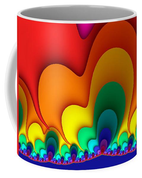 Digital Art Coffee Mug featuring the digital art Bold Colors Fractal by Gabiw Art