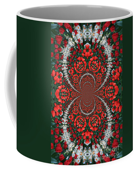 Tulips Coffee Mug featuring the photograph Tulips Kaleidoscope - Red And Green by Carol Groenen