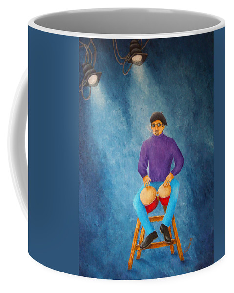 Pamela Allegretto-franz Coffee Mug featuring the painting Bongo Man by Pamela Allegretto