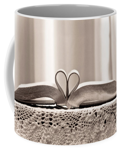 Romantic Coffee Mug featuring the photograph Book Heart Series 1 by Robin Lynne Schwind