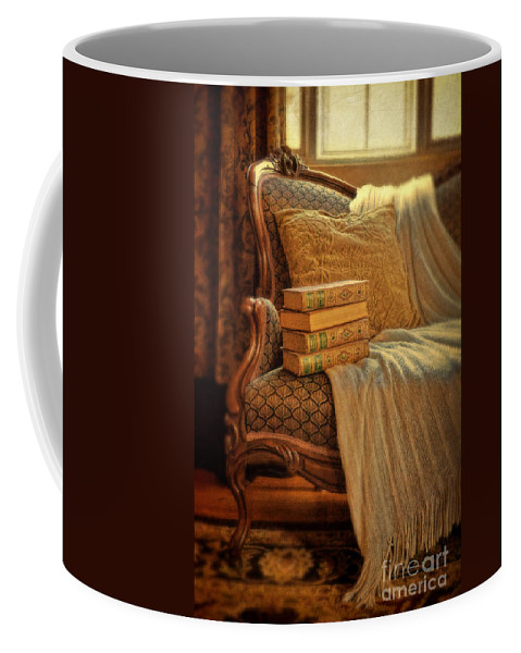 Sofa Coffee Mug featuring the photograph Books On Victorian Sofa by Jill Battaglia